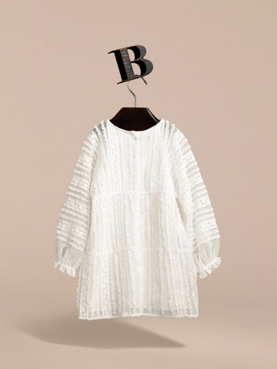 Lace Trim Cotton Dress in White | Burberry - cell image 2