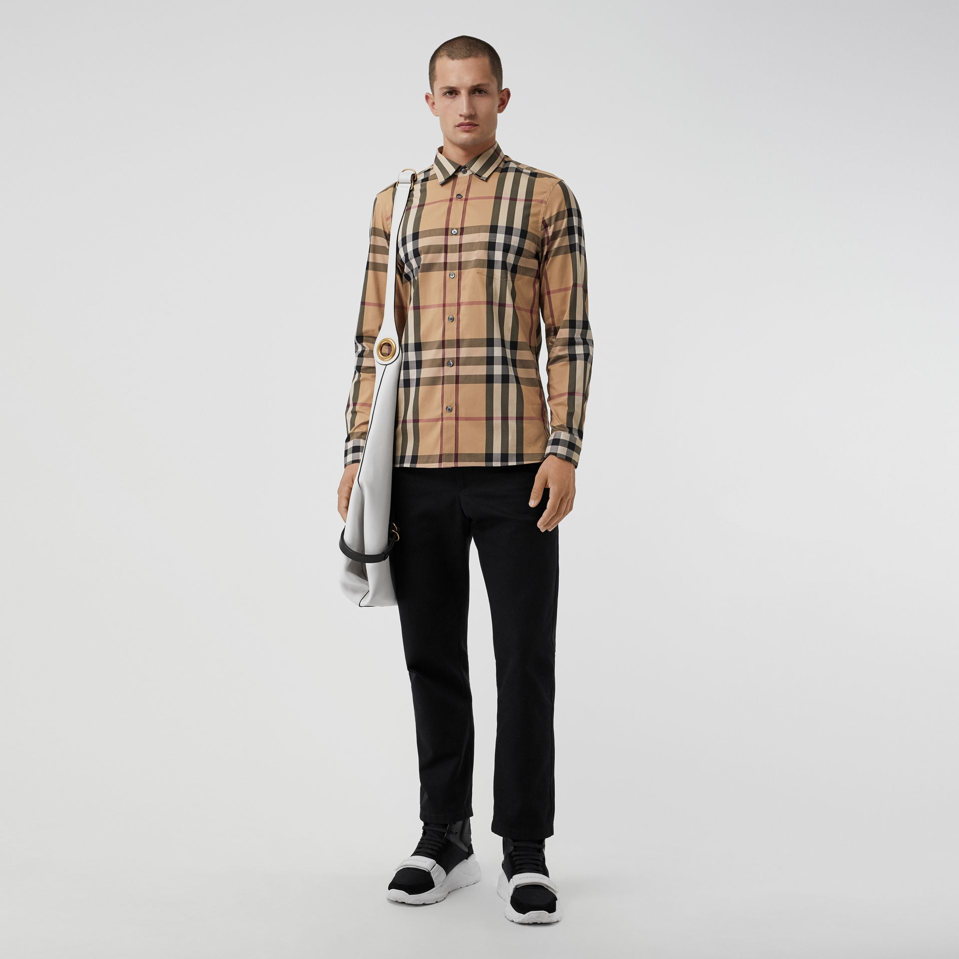 Check Stretch Cotton Shirt in Camel - Men | Burberry - gallery image 0