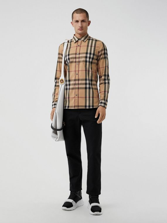 Check Stretch Cotton Shirt in Camel