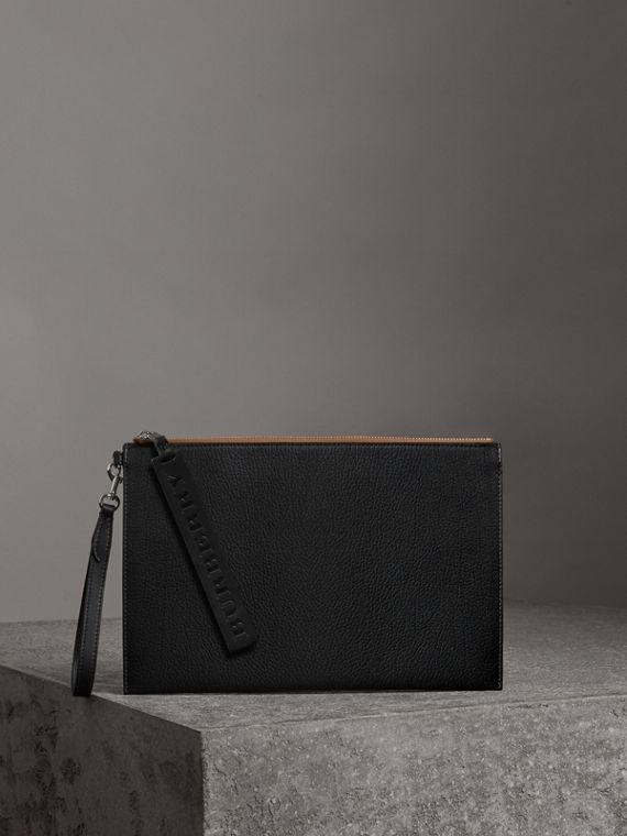Grainy Leather Zip Pouch in Black