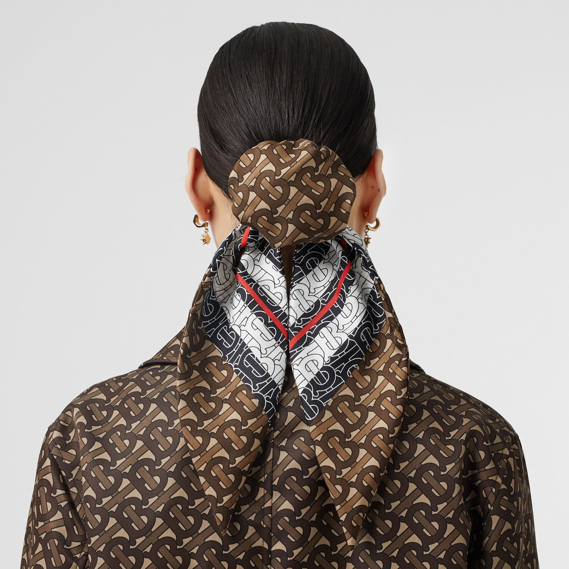 Monogram Stripe Print Silk Hair Scarf in Bridle Brown - Women | Burberry - gallery image 2