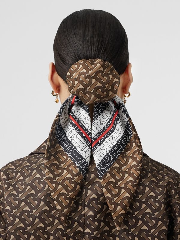 Monogram Stripe Print Silk Hair Scarf in Bridle Brown - Women | Burberry - cell image 2