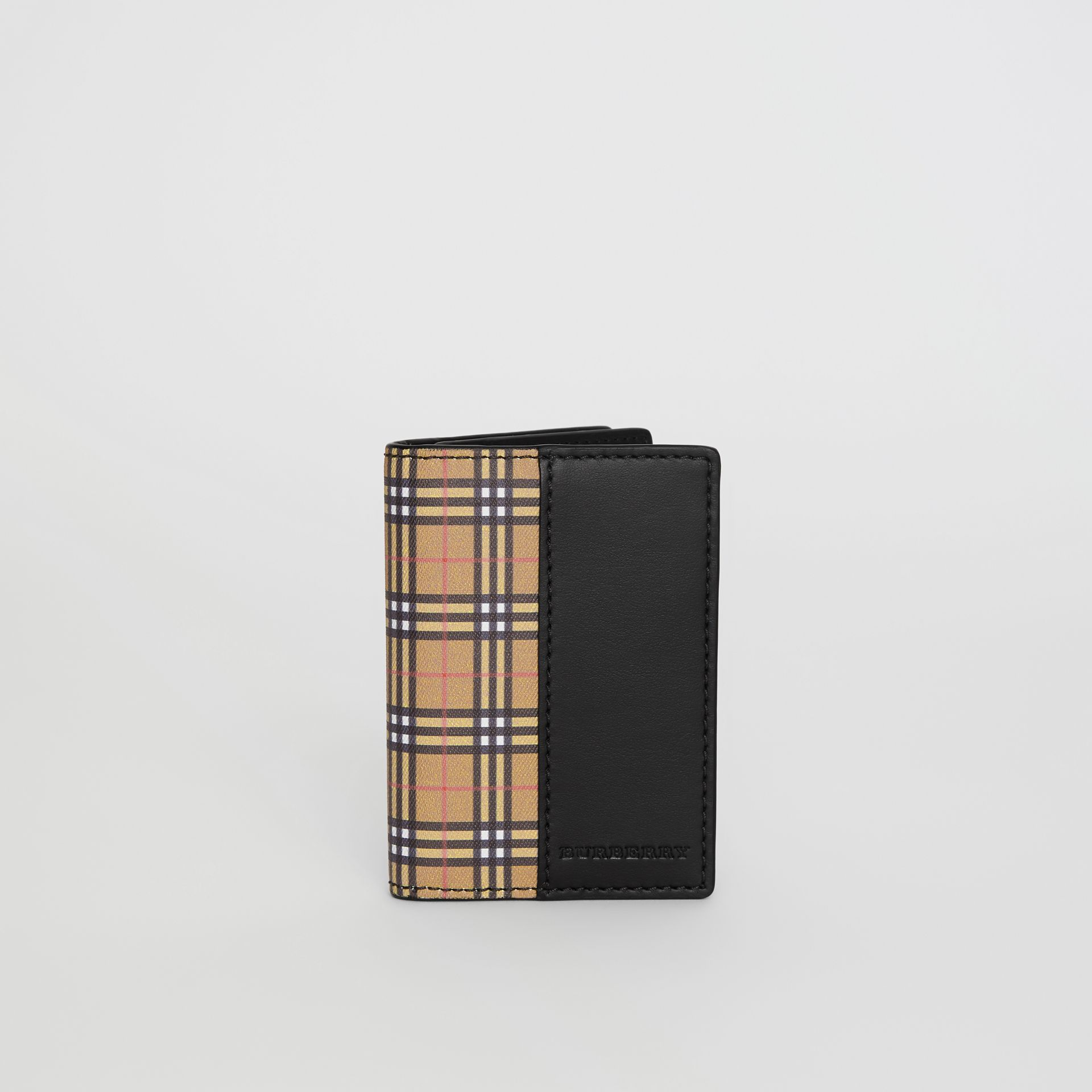 Small Scale Check and Leather Folding Card Case in Antique Yellow/black - Men | Burberry - gallery image 2