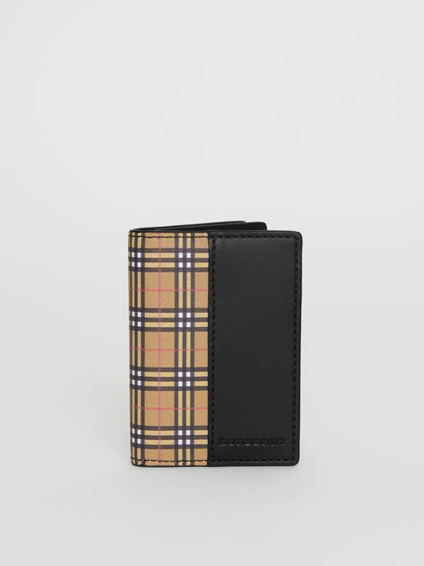 Small Scale Check and Leather Folding Card Case in Antique Yellow/black - Men | Burberry Hong Kong - cell image 2