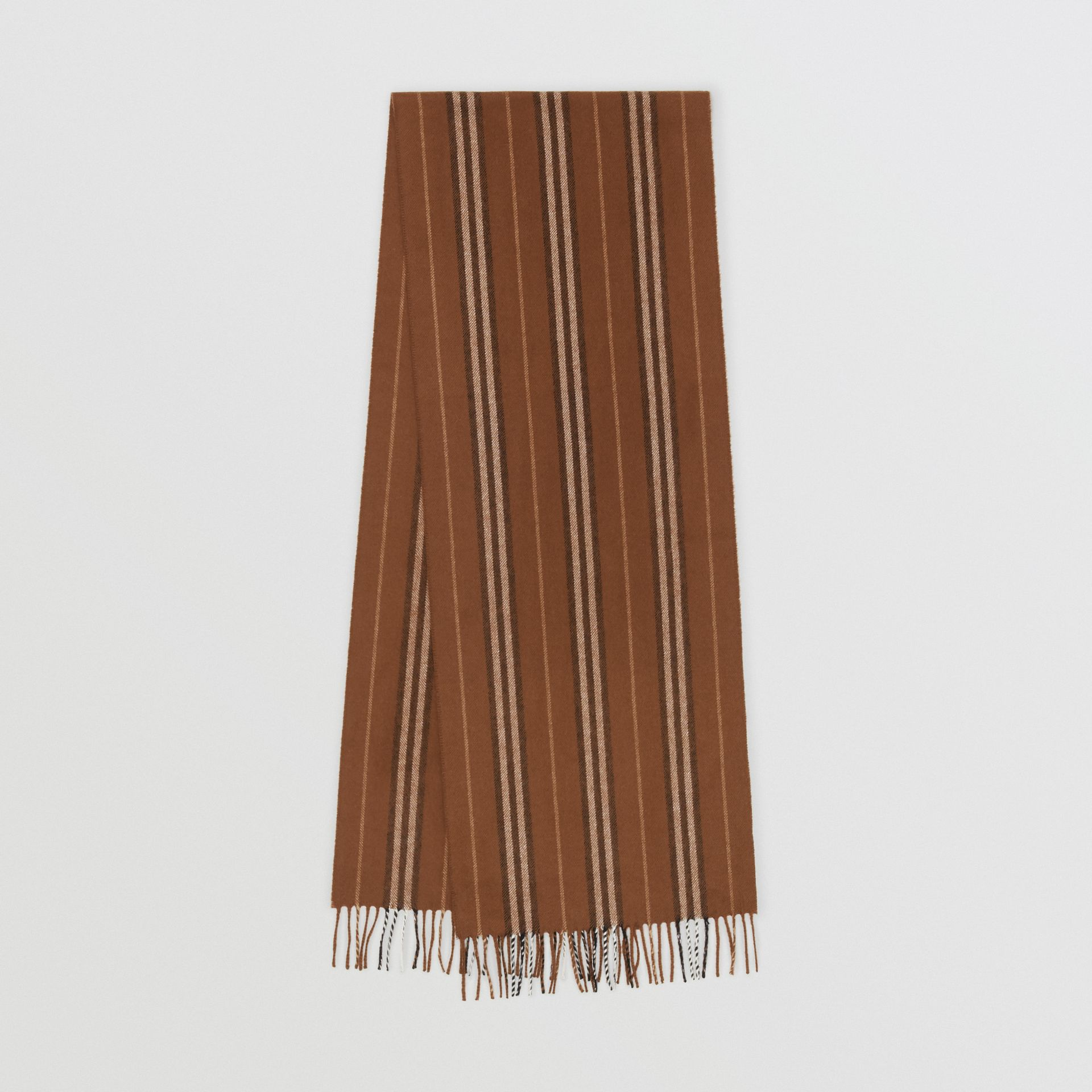 Icon Stripe Cashmere Scarf in Dark Chestnut Brown | Burberry United Kingdom - gallery image 0