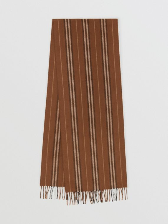 Sciarpa in cashmere con iconico motivo a righe (Marrone Castagna Scuro)