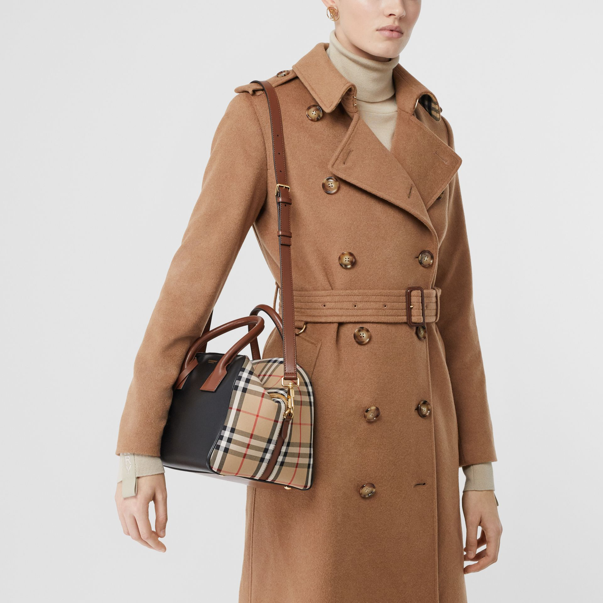 Small Leather and Vintage Check Cube Bag in Archive Beige - Women | Burberry - gallery image 9