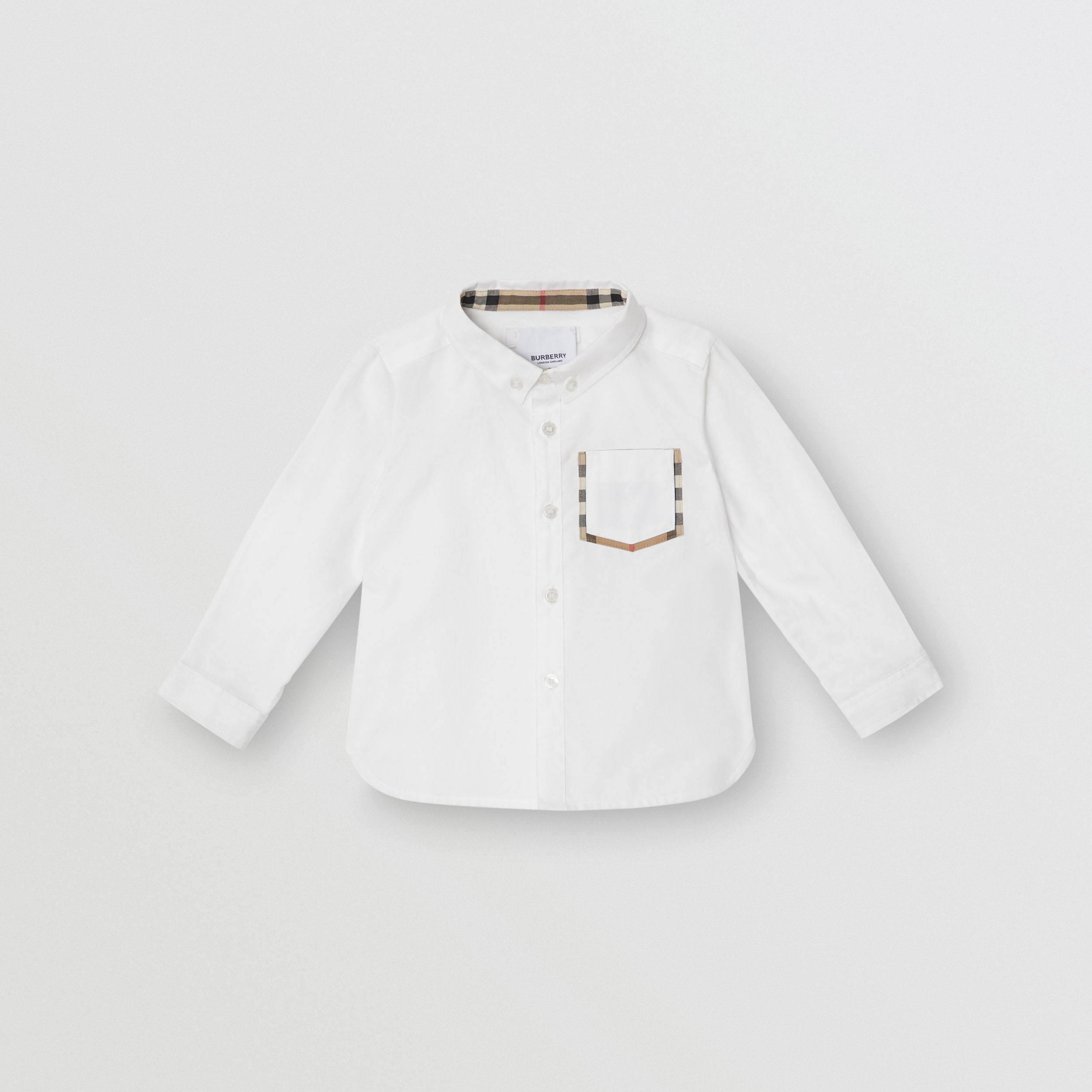 Vintage Check Detail Cotton Oxford Shirt in White - Children | Burberry United Kingdom - 1