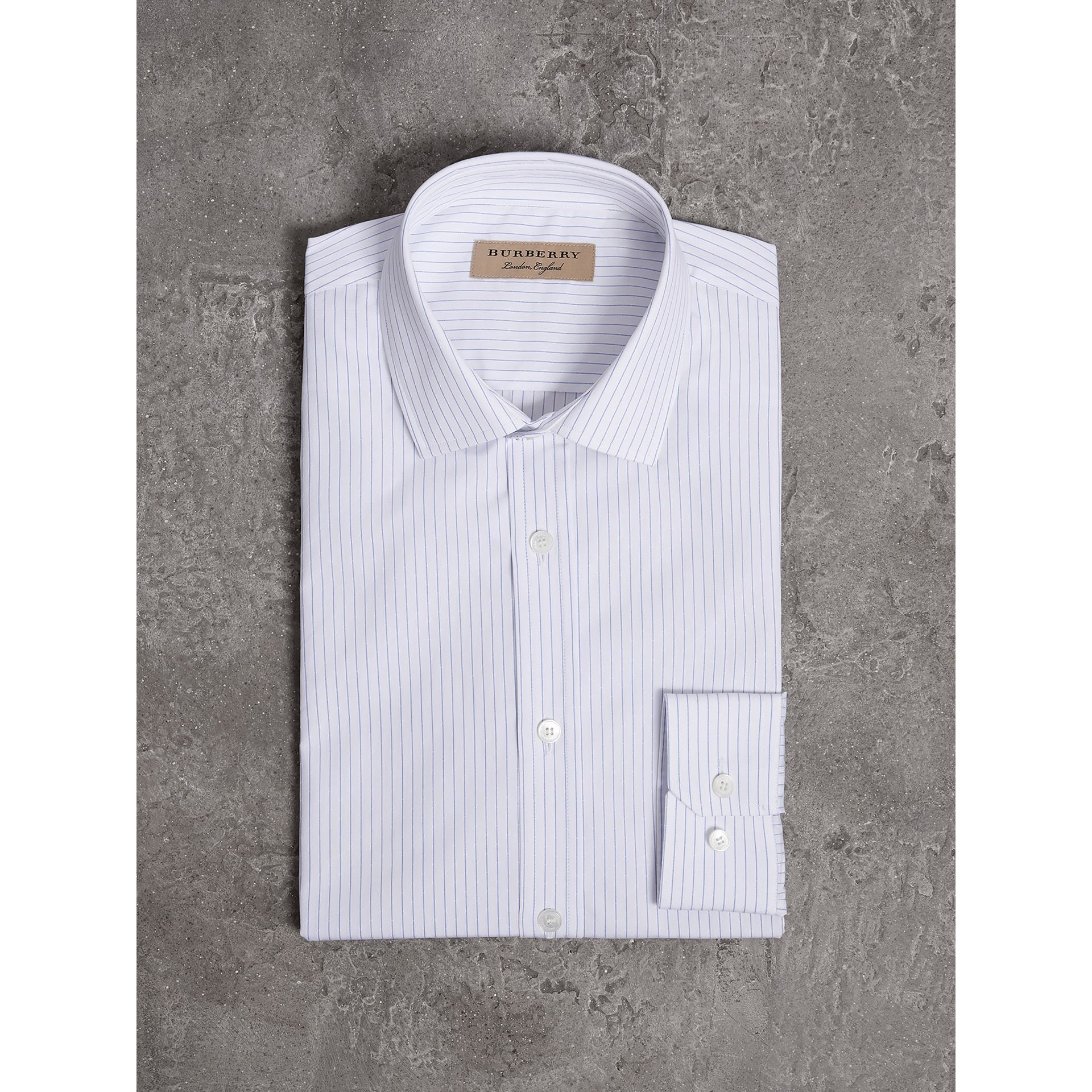 Slim Fit Striped Dobby Cotton Shirt in Light Blue - Men | Burberry - gallery image 4