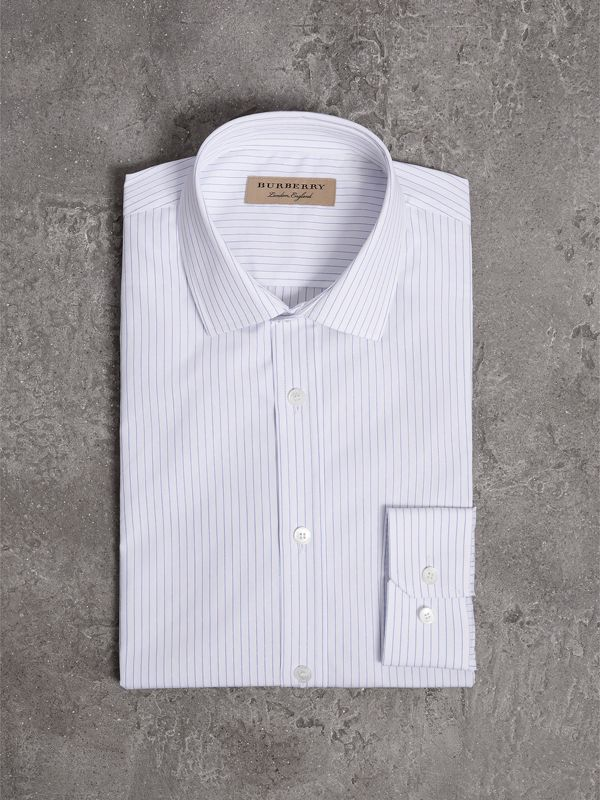 Slim Fit Striped Dobby Cotton Shirt in Light Blue - Men | Burberry - cell image 3
