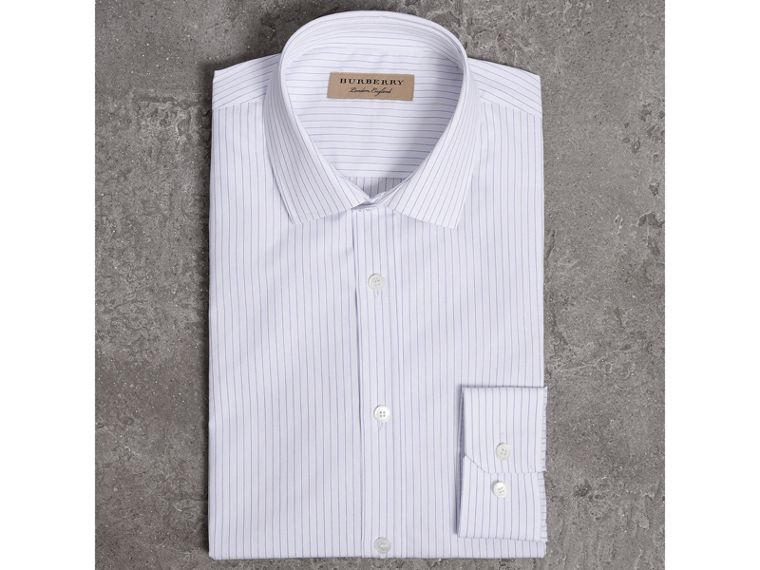 Slim Fit Striped Dobby Cotton Shirt in Light Blue - Men | Burberry - cell image 4