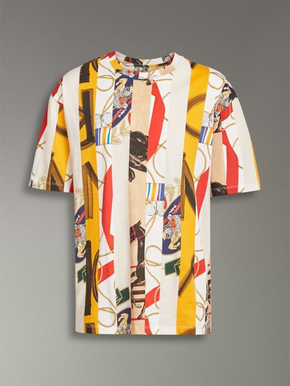 Striped Archive Scarf Print Cotton T-shirt in Stone - Men | Burberry - cell image 3
