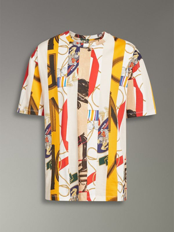 Striped Archive Scarf Print Cotton T-shirt in Stone - Men | Burberry Singapore - cell image 3