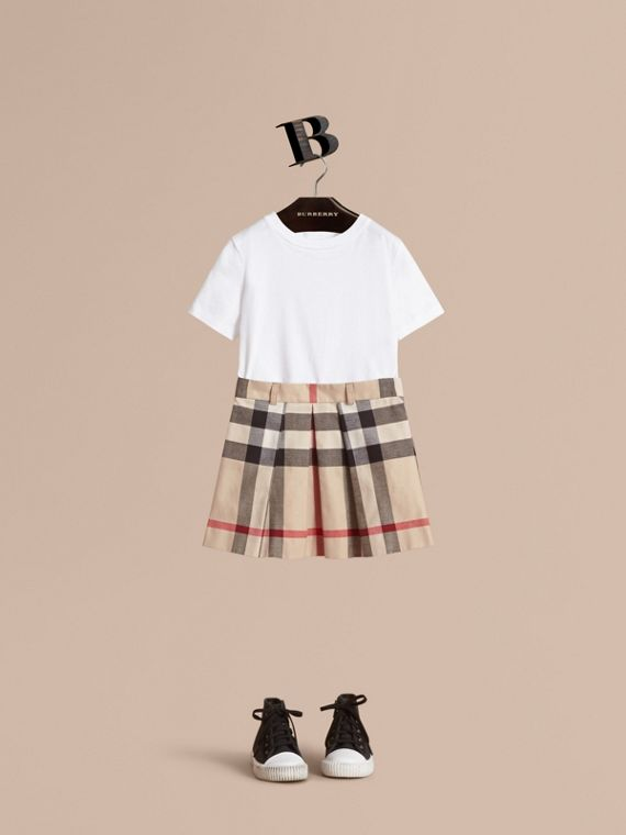 Pleated Check Cotton Skirt in Stone - Girl | Burberry Australia