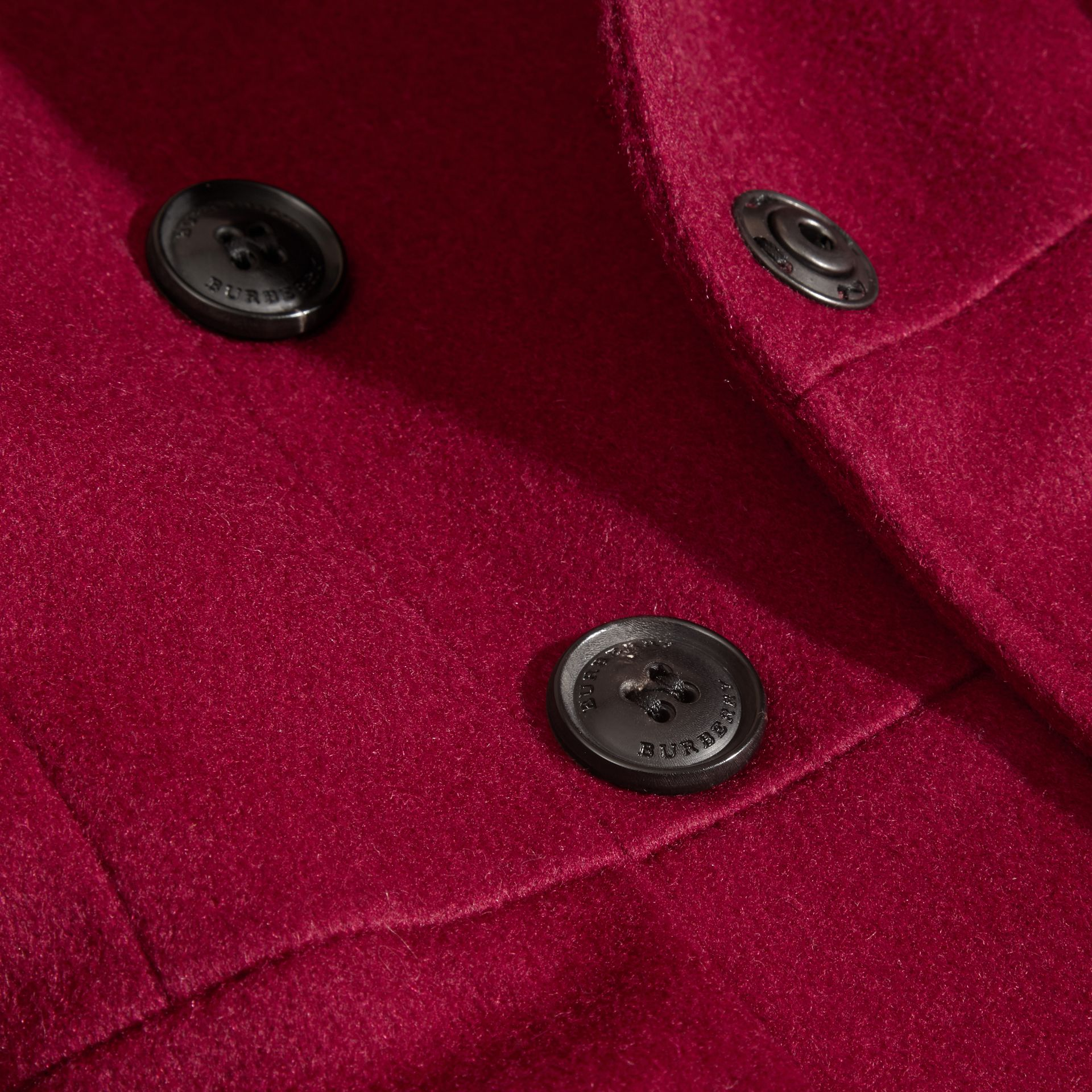 Cherry pink Cashmere Military Coat Cherry Pink - gallery image 2