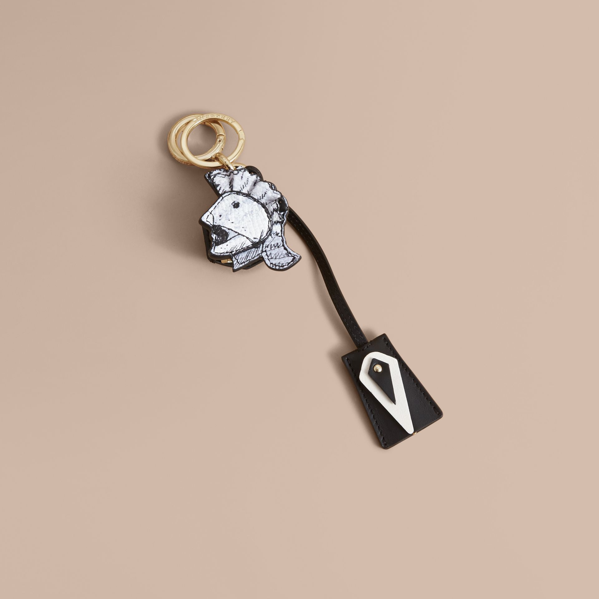Pallas Helmet Motif Leather Key Charm and Padlock in Black/white - Women | Burberry Australia - gallery image 1