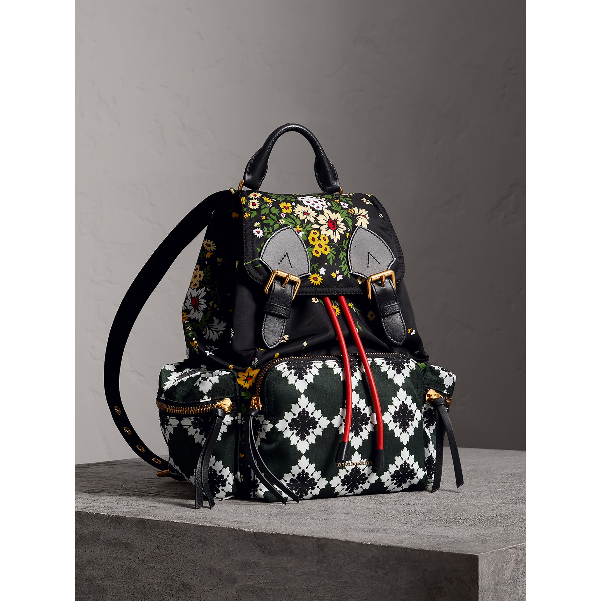 The Medium Rucksack in Floral Print in Black - Women | Burberry - gallery image 0