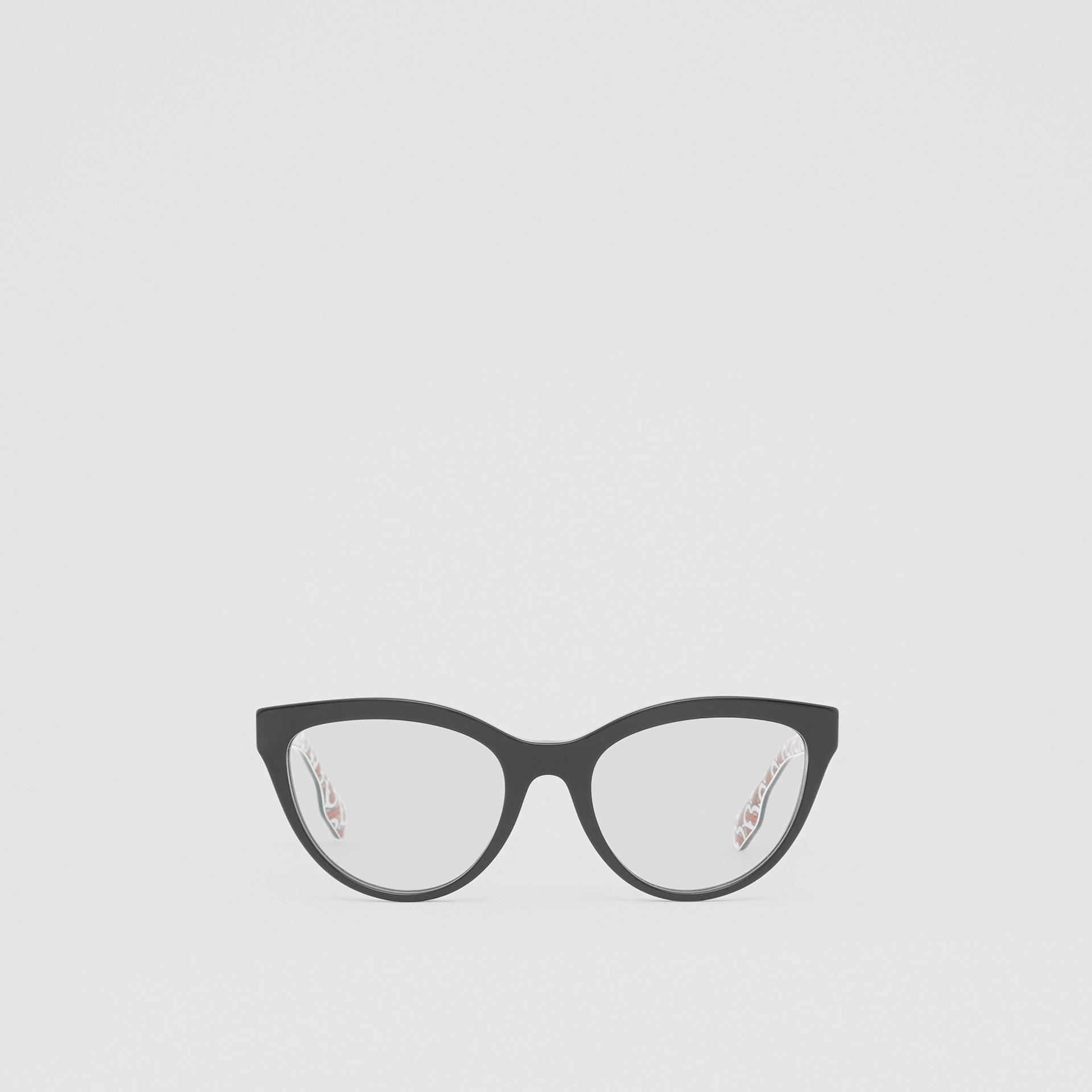 Monogram Print Detail Cat-eye Optical Frames in Black/vermilion - Women | Burberry - gallery image 0