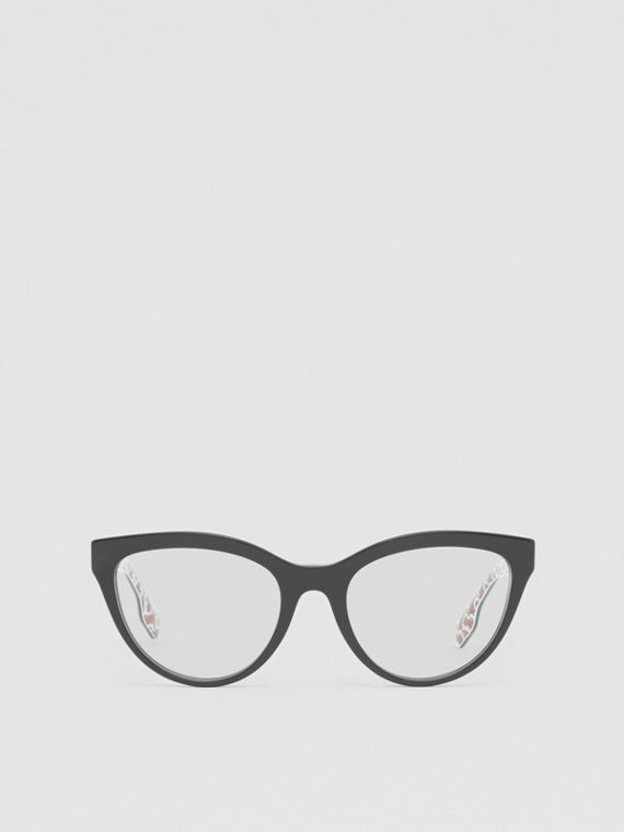Monogram Print Detail Cat-eye Optical Frames in Black/vermilion
