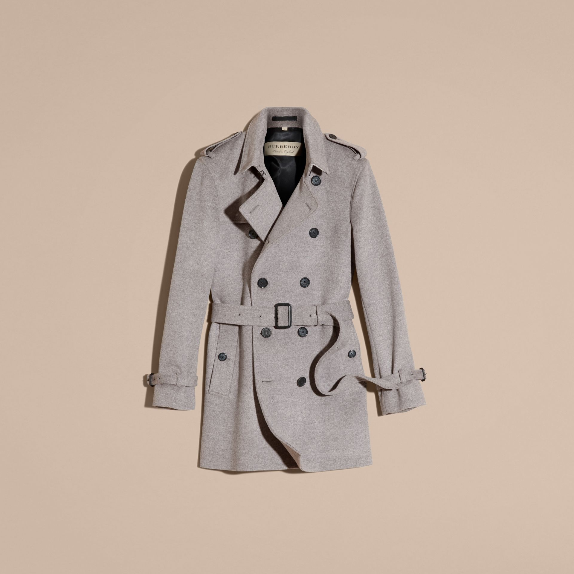Pale grey melange Wool Cashmere Trench Coat Pale Grey Melange - gallery image 4