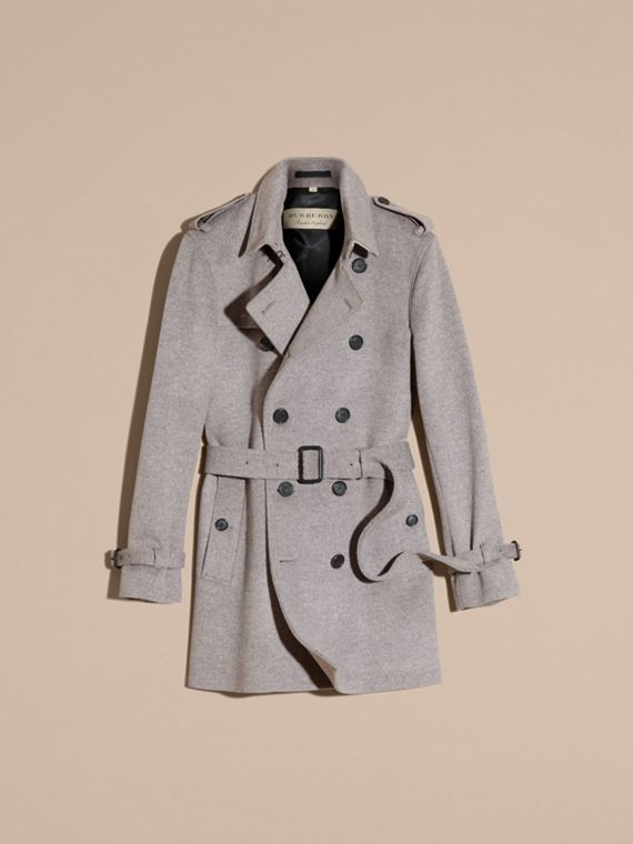 Pale grey melange Wool Cashmere Trench Coat Pale Grey Melange - cell image 3