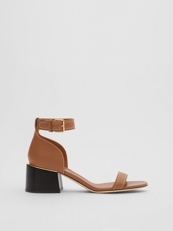 Gold-plated Detail Leather Block-heel Sandals in Tan