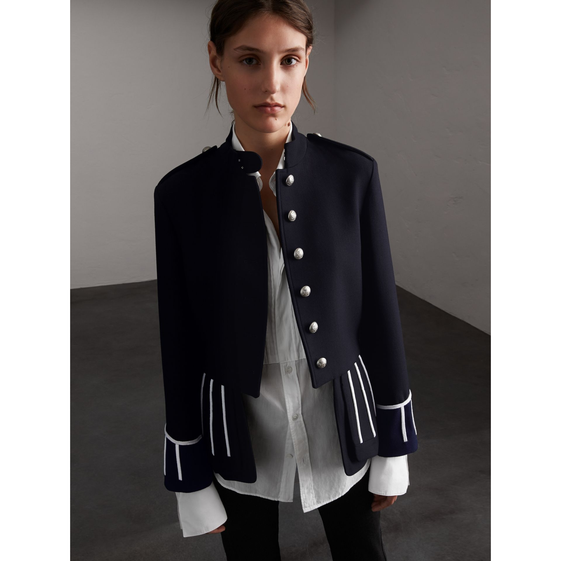 Cord Detail Wool Military Jacket in Navy - Women | Burberry - gallery image 1