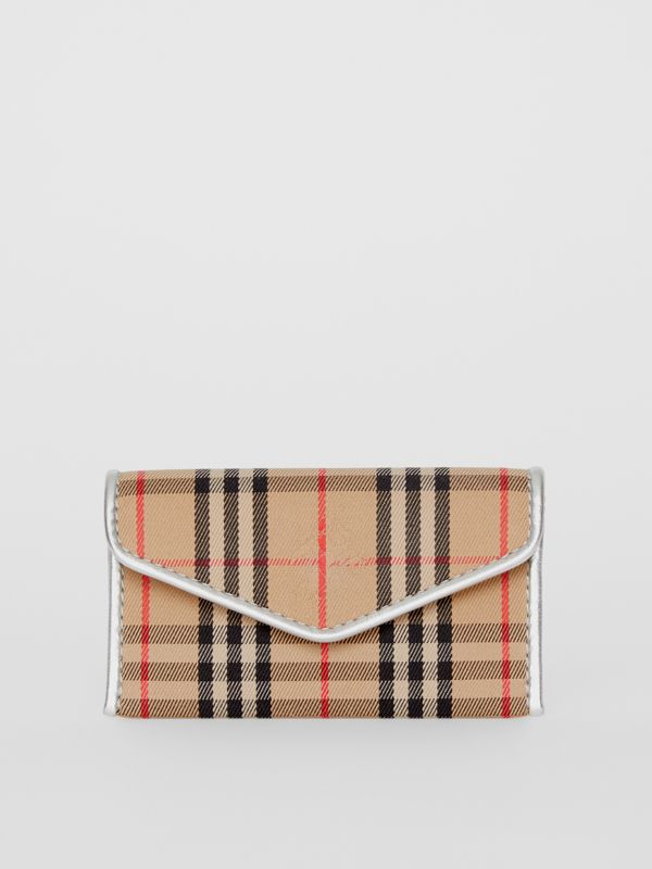 1983 Check and Leather Envelope Card Case in Silver - Women | Burberry - cell image 2
