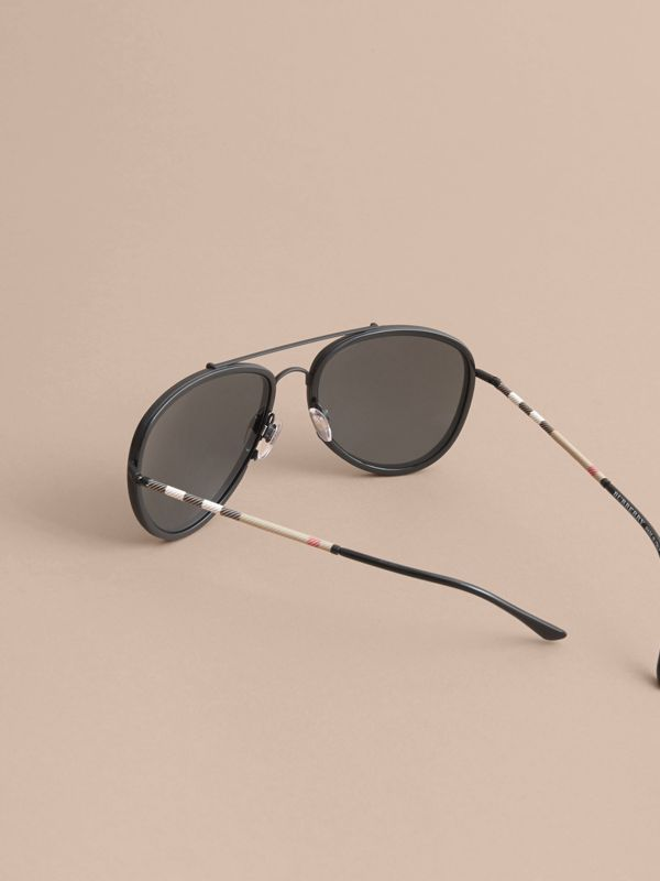 Check Detail Pilot Sunglasses in Black - Men | Burberry - cell image 3
