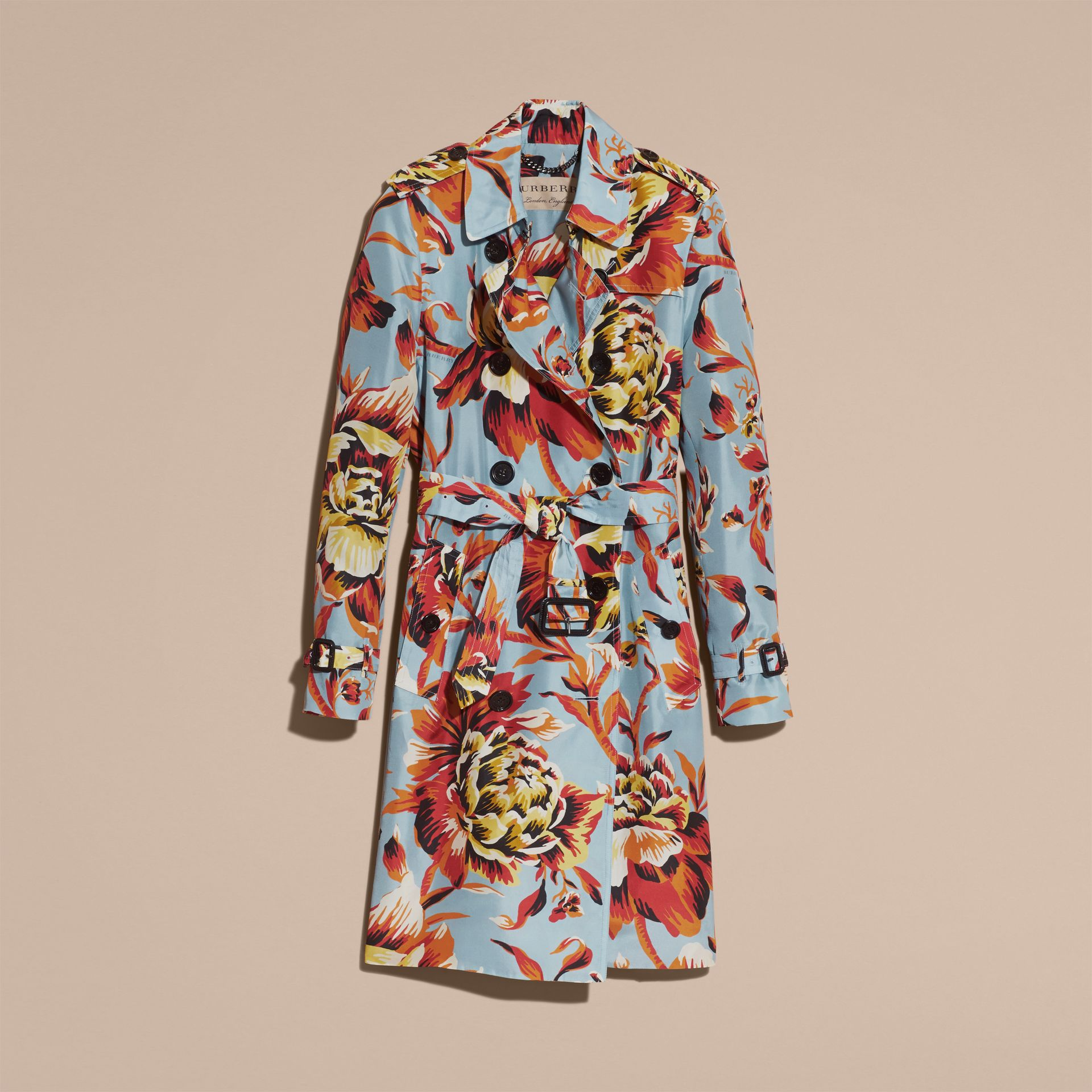 Vibrant orange Peony Rose Print Silk Trench Coat - gallery image 4
