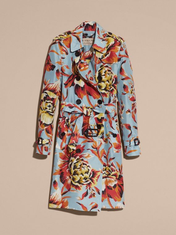 Vibrant orange Peony Rose Print Silk Trench Coat - cell image 3