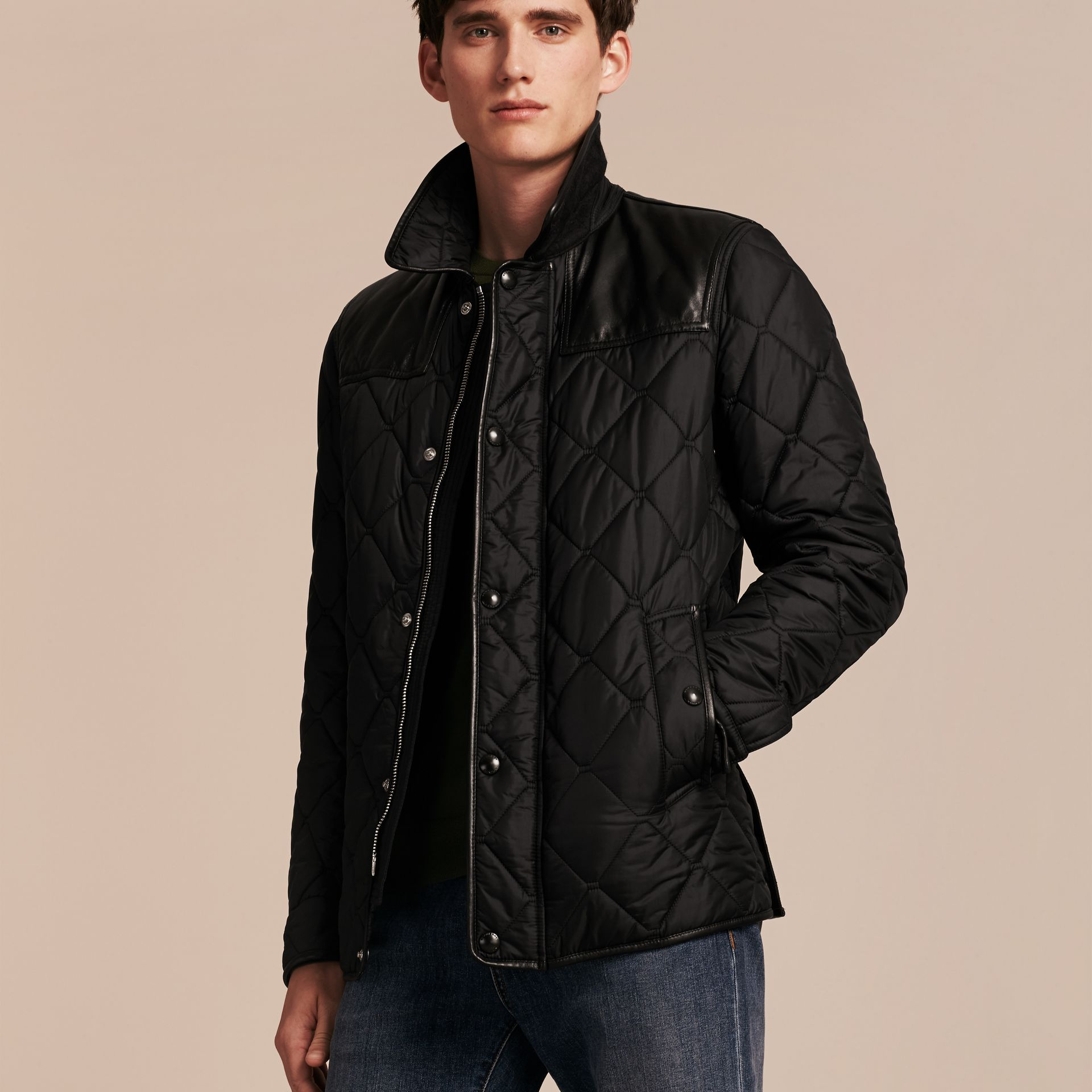 Black Lambskin Detail Field Jacket - gallery image 7