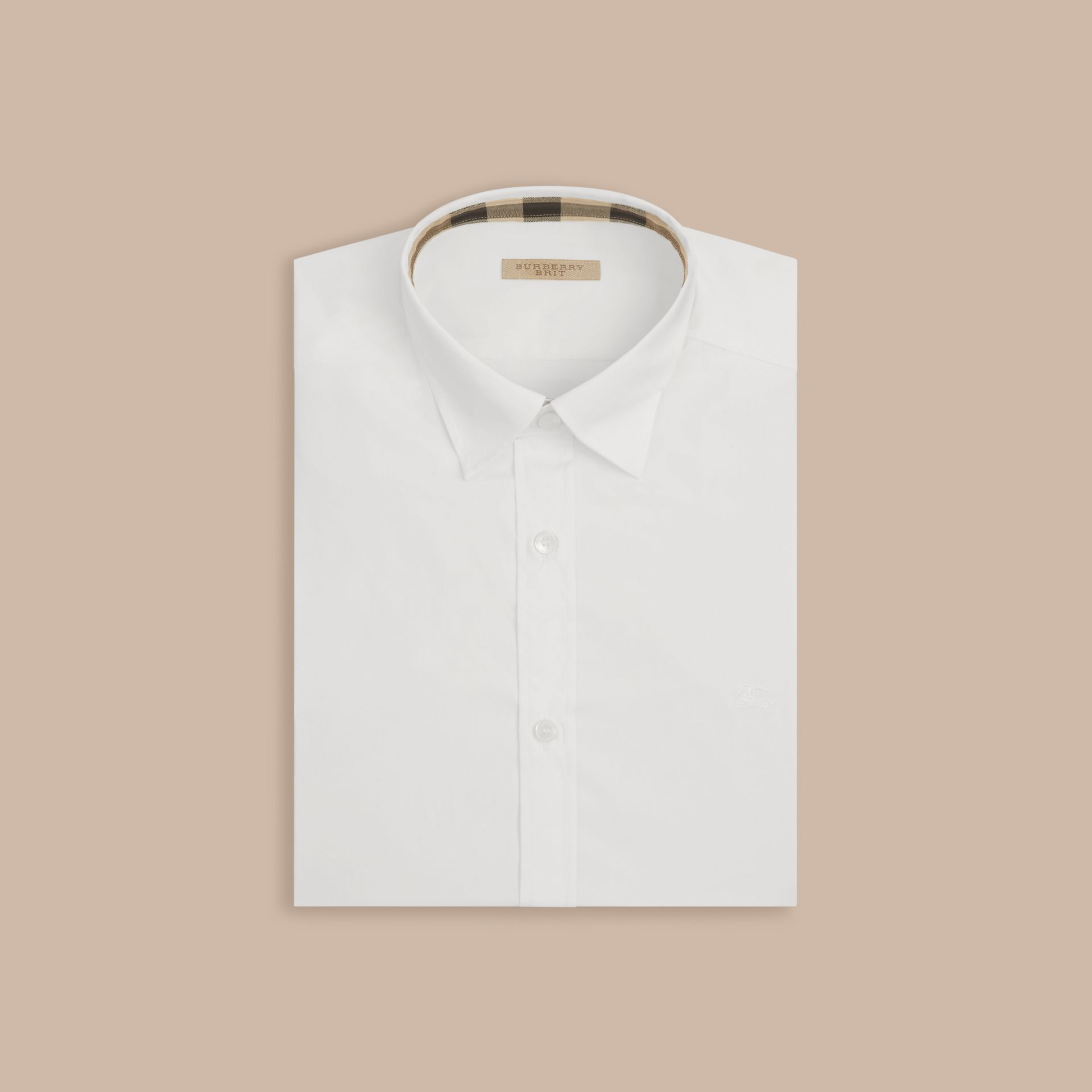 White Stretch Cotton Poplin Shirt - gallery image 4