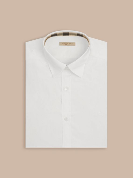 White Stretch Cotton Poplin Shirt - cell image 3