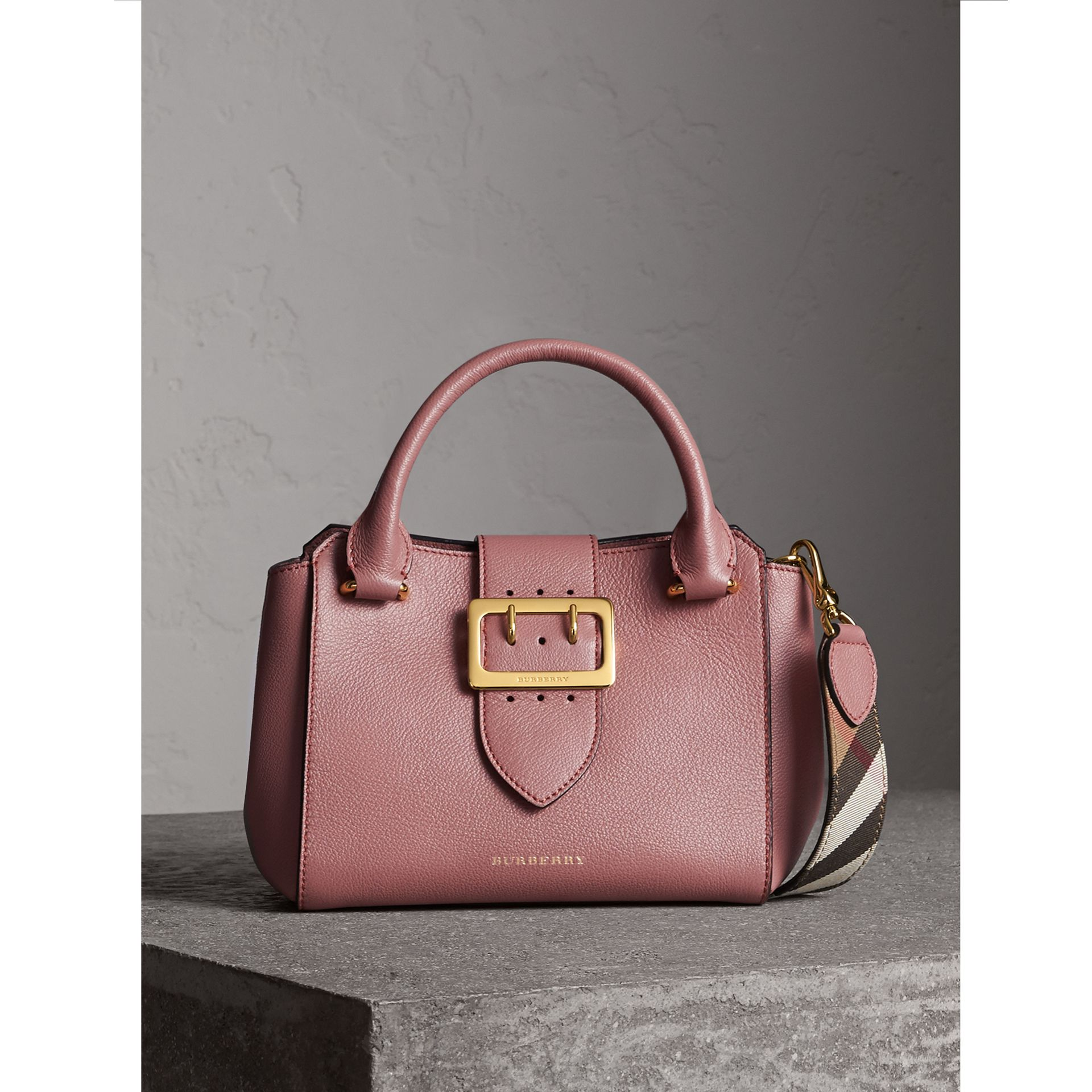The Small Buckle Tote in Grainy Leather in Dusty Pink - Women | Burberry Singapore - gallery image 1