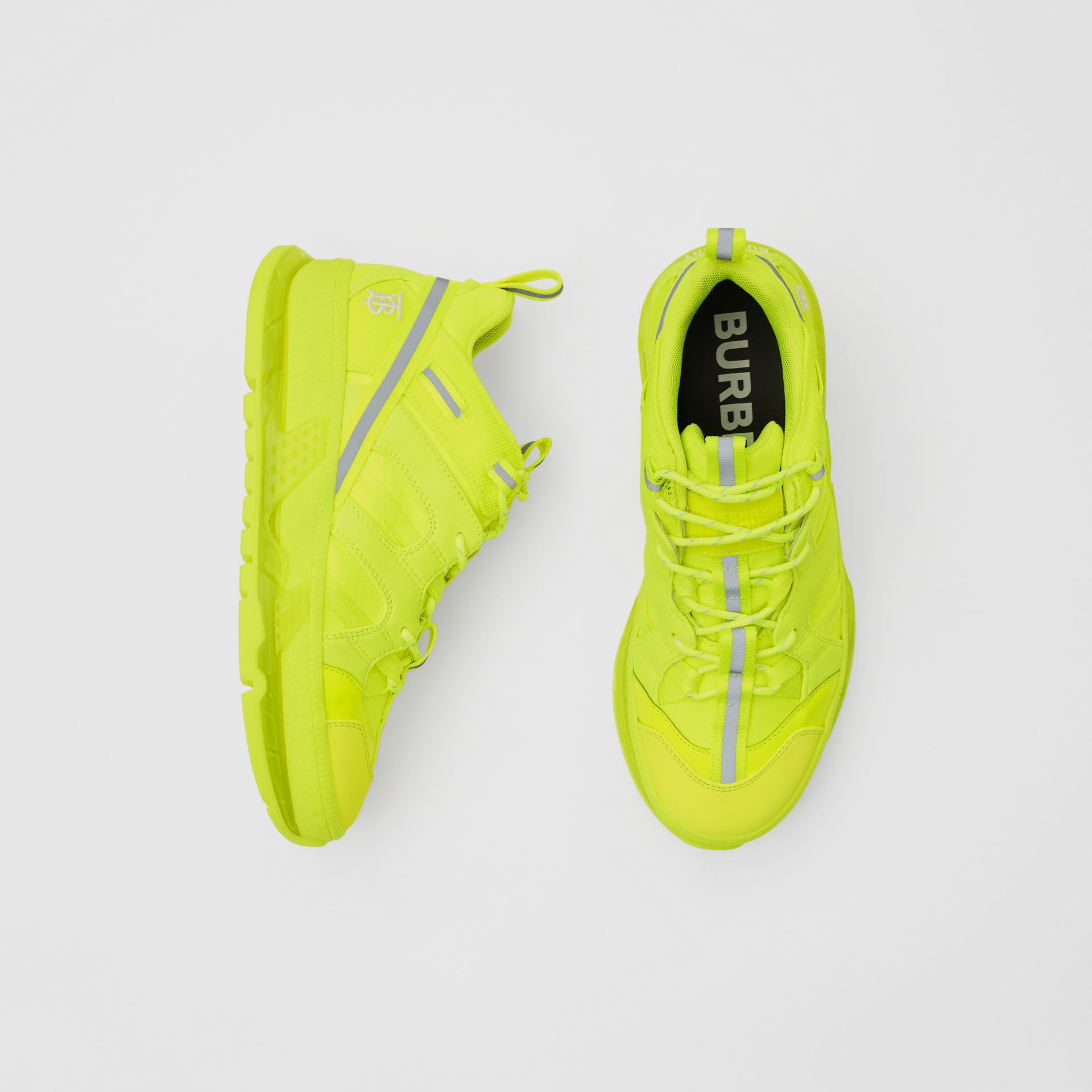 Nylon and Cotton Union Sneakers in Fluorescent Yellow - Women | Burberry United Kingdom - gallery image 0