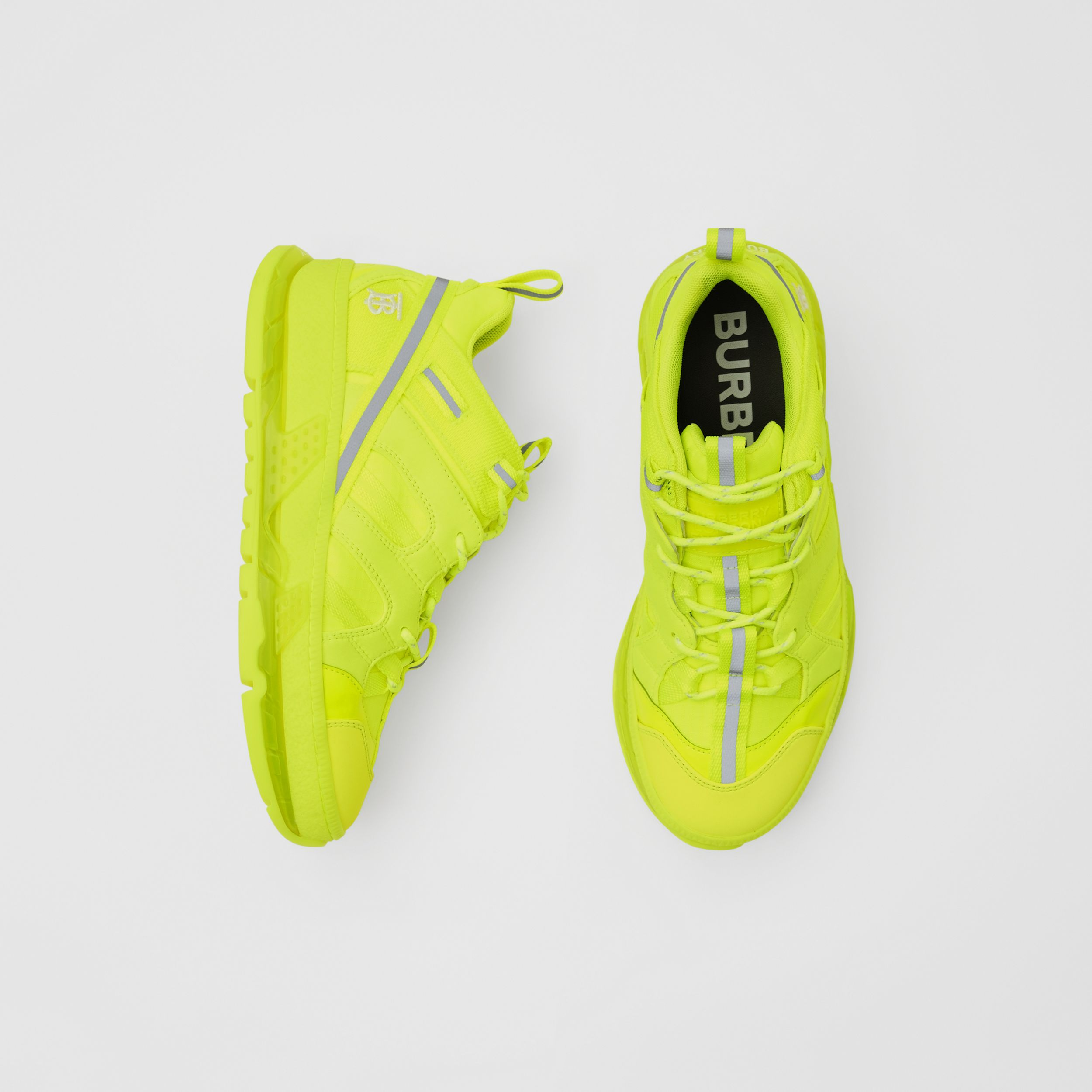 Nylon and Cotton Union Sneakers in Fluorescent Yellow - Women | Burberry - 1