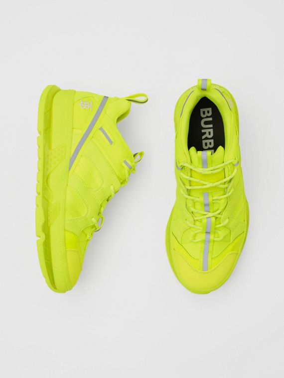 Nylon and Cotton Union Sneakers in Fluorescent Yellow