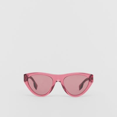 258a479a8 Triangular Frame Sunglasses in Cranberry - Women | Burberry