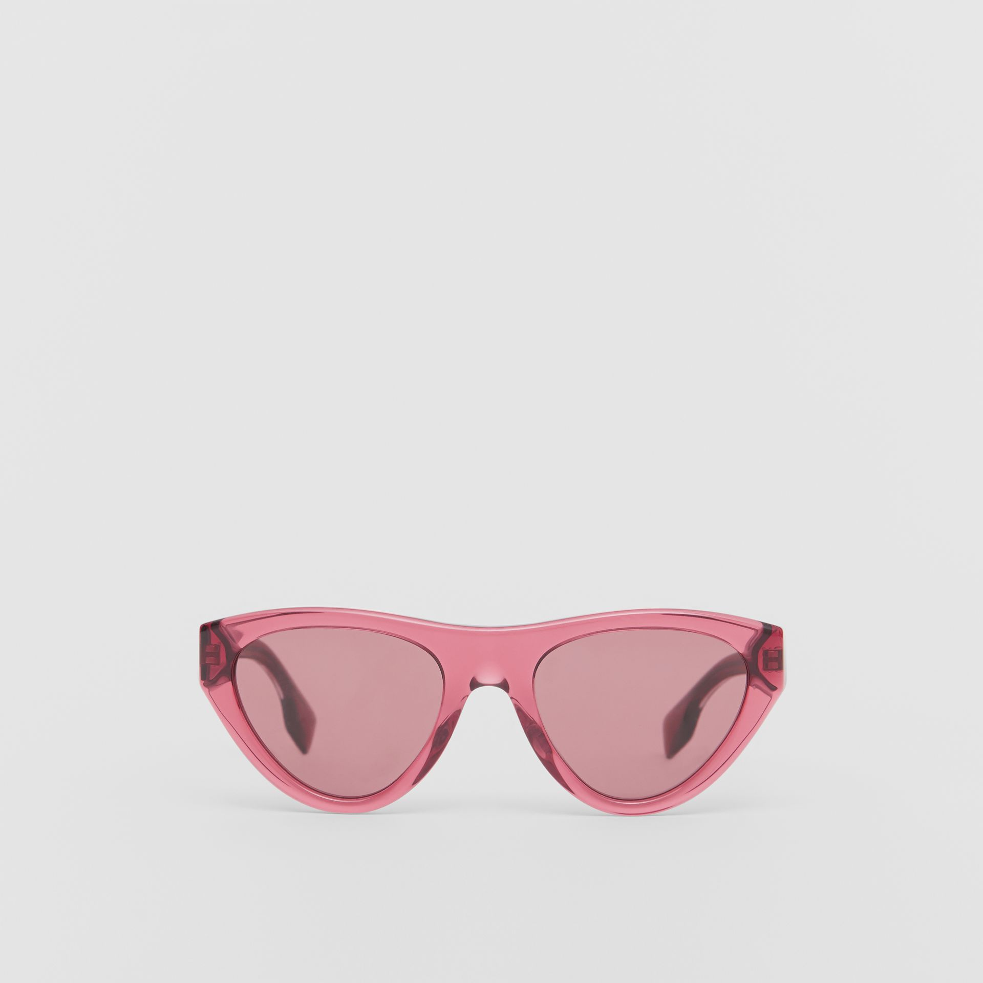 Triangular Frame Sunglasses in Cranberry - Women | Burberry - gallery image 0