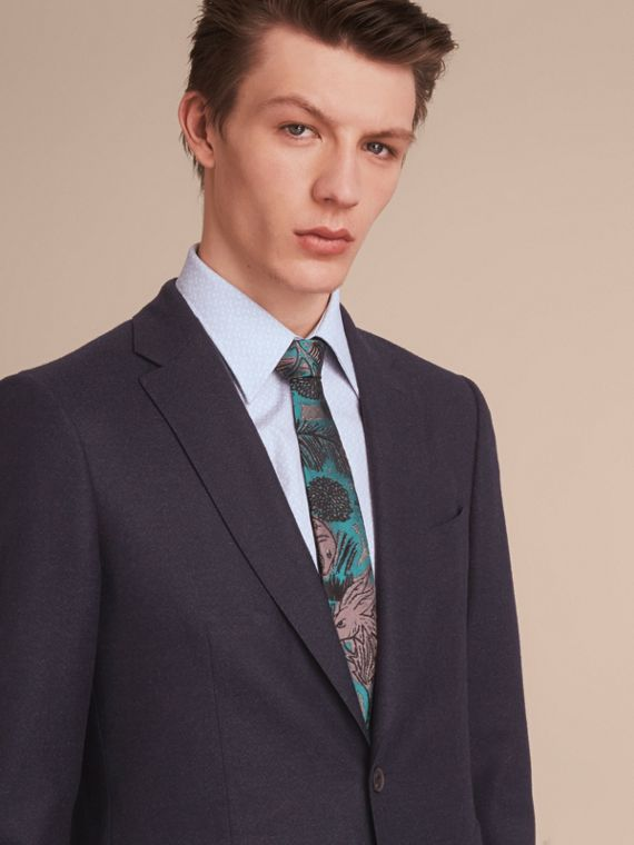 Slim Cut Beasts Jacquard Silk Tie in Mineral Blue - Men | Burberry - cell image 2