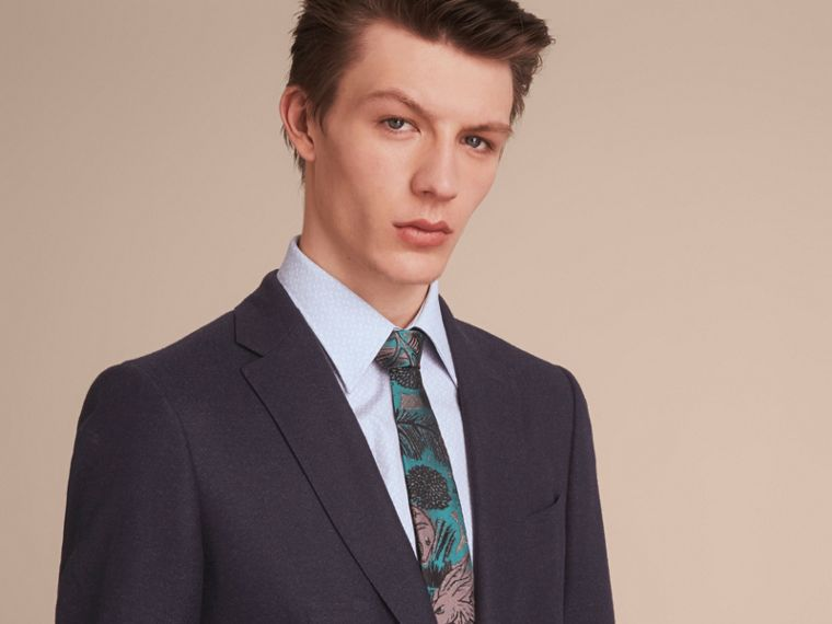 Slim Cut Beasts Jacquard Silk Tie in Mineral Blue - cell image 2
