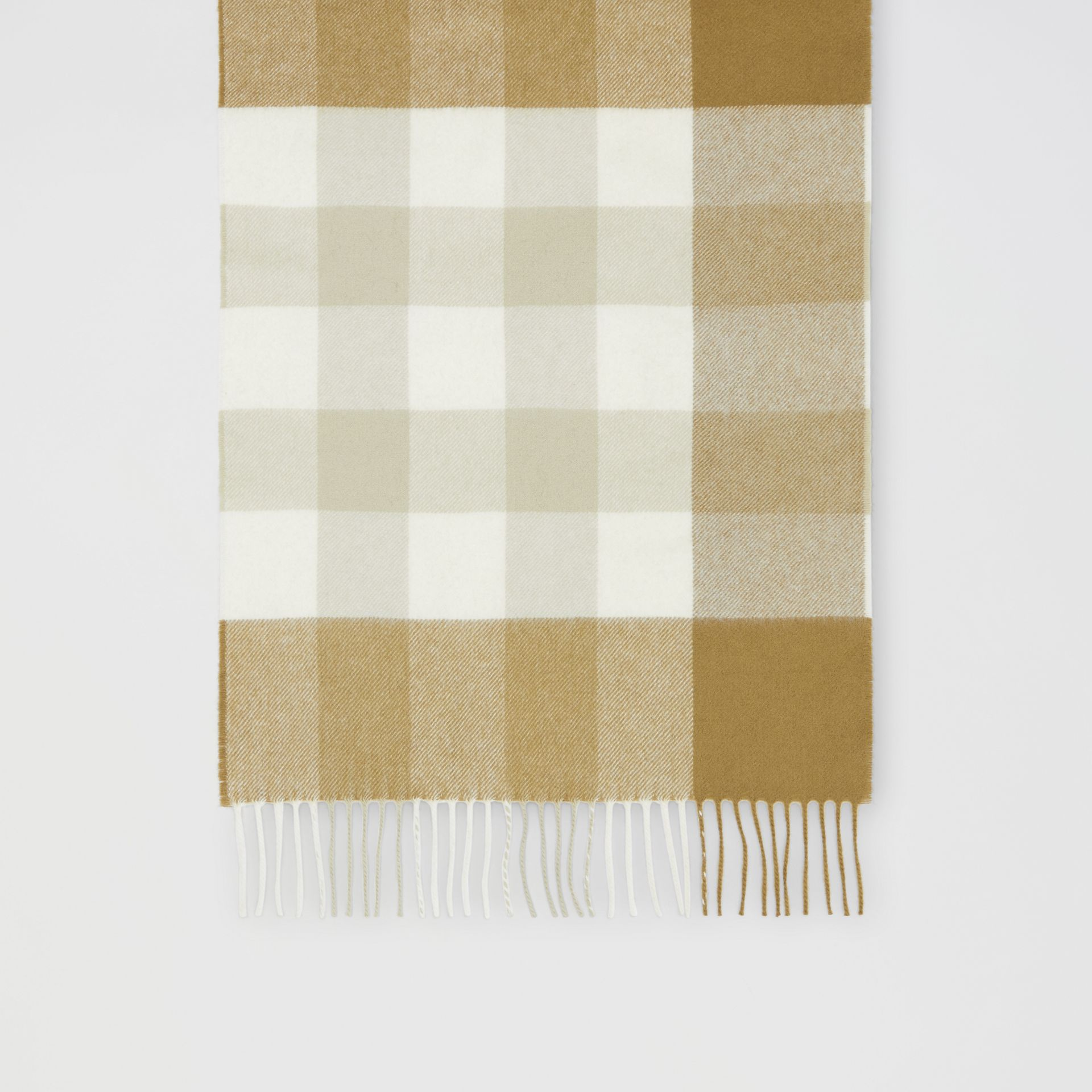 Check Cashmere Scarf in Deep Olive | Burberry United Kingdom - gallery image 3