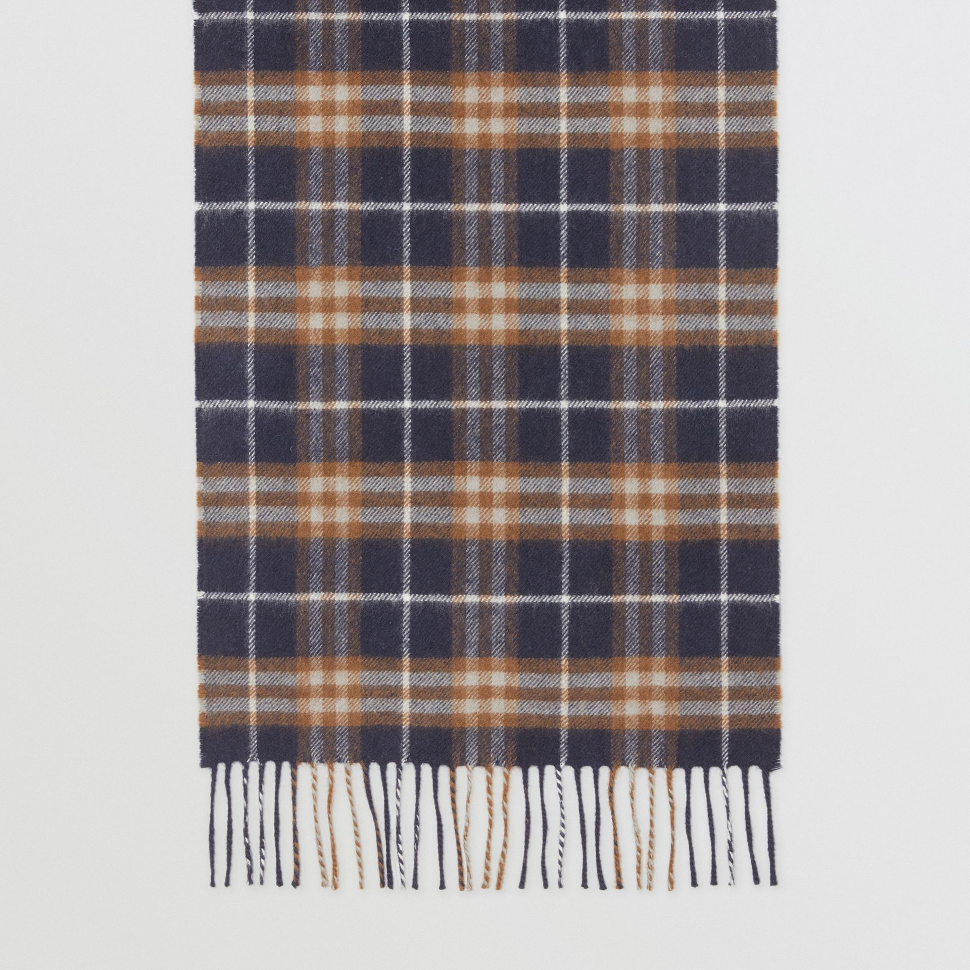 The Classic Vintage Check Cashmere Scarf in Dark Sapphire | Burberry Australia - gallery image 4