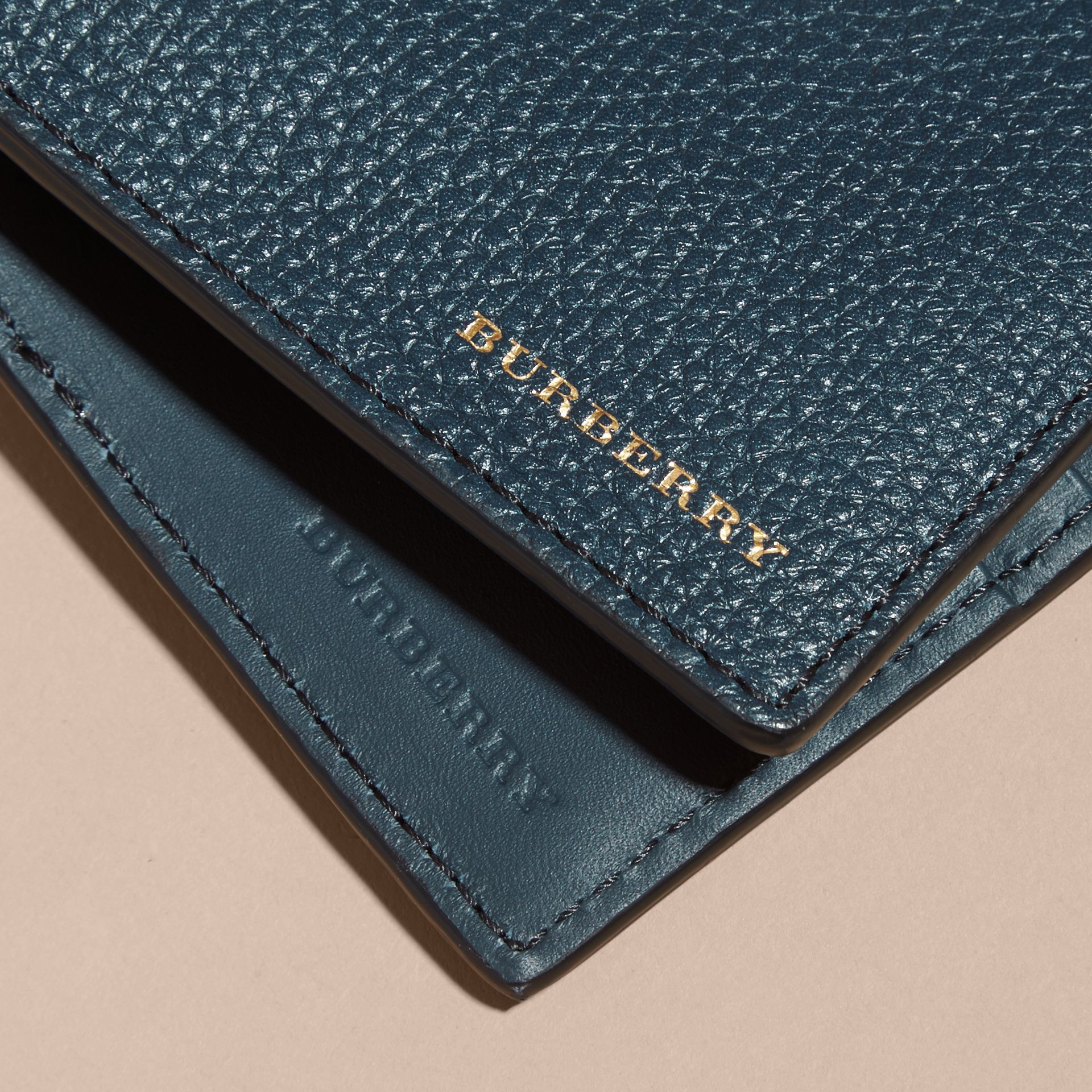 Grainy Leather and House Check Bifold Wallet in Storm Blue - gallery image 4