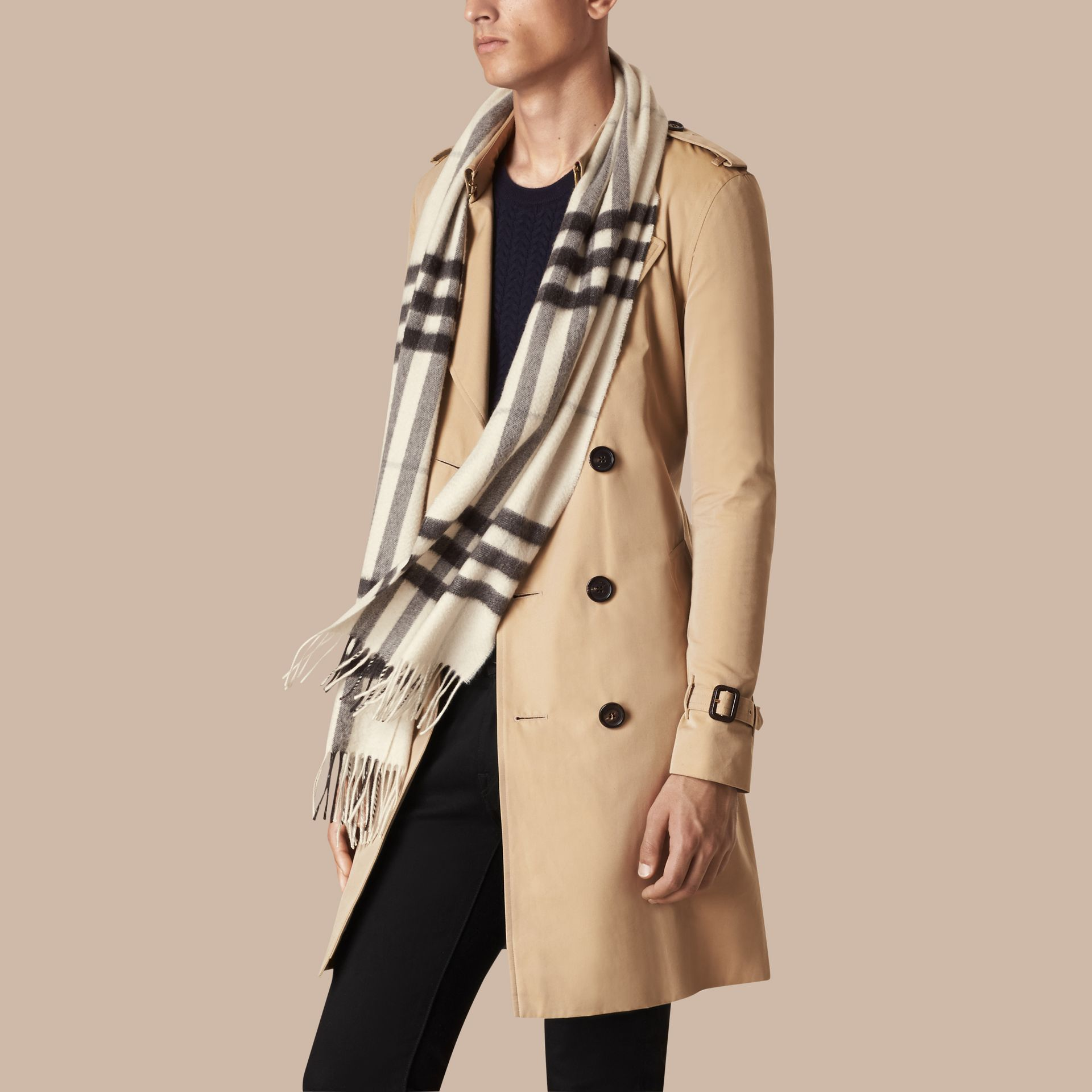 Natural white check The Classic Cashmere Scarf in Check Natural White - gallery image 4
