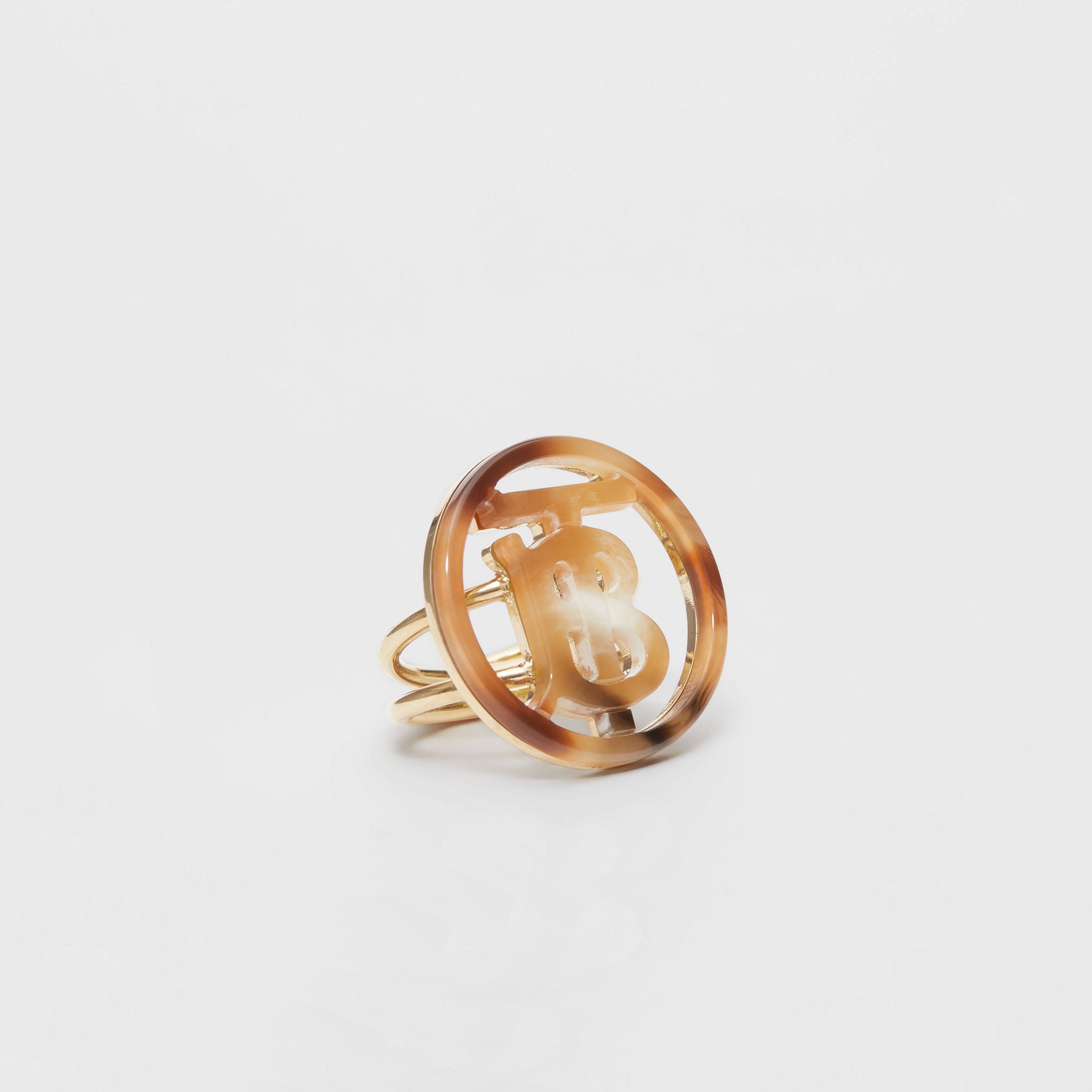 Resin and Gold-plated Monogram Motif Ring in Light Gold/horn - Women | Burberry - 3