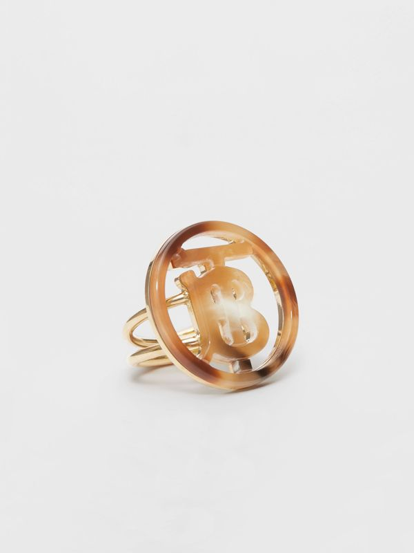 Resin and Gold-plated Monogram Motif Ring in Light Gold/horn - Women | Burberry - cell image 2