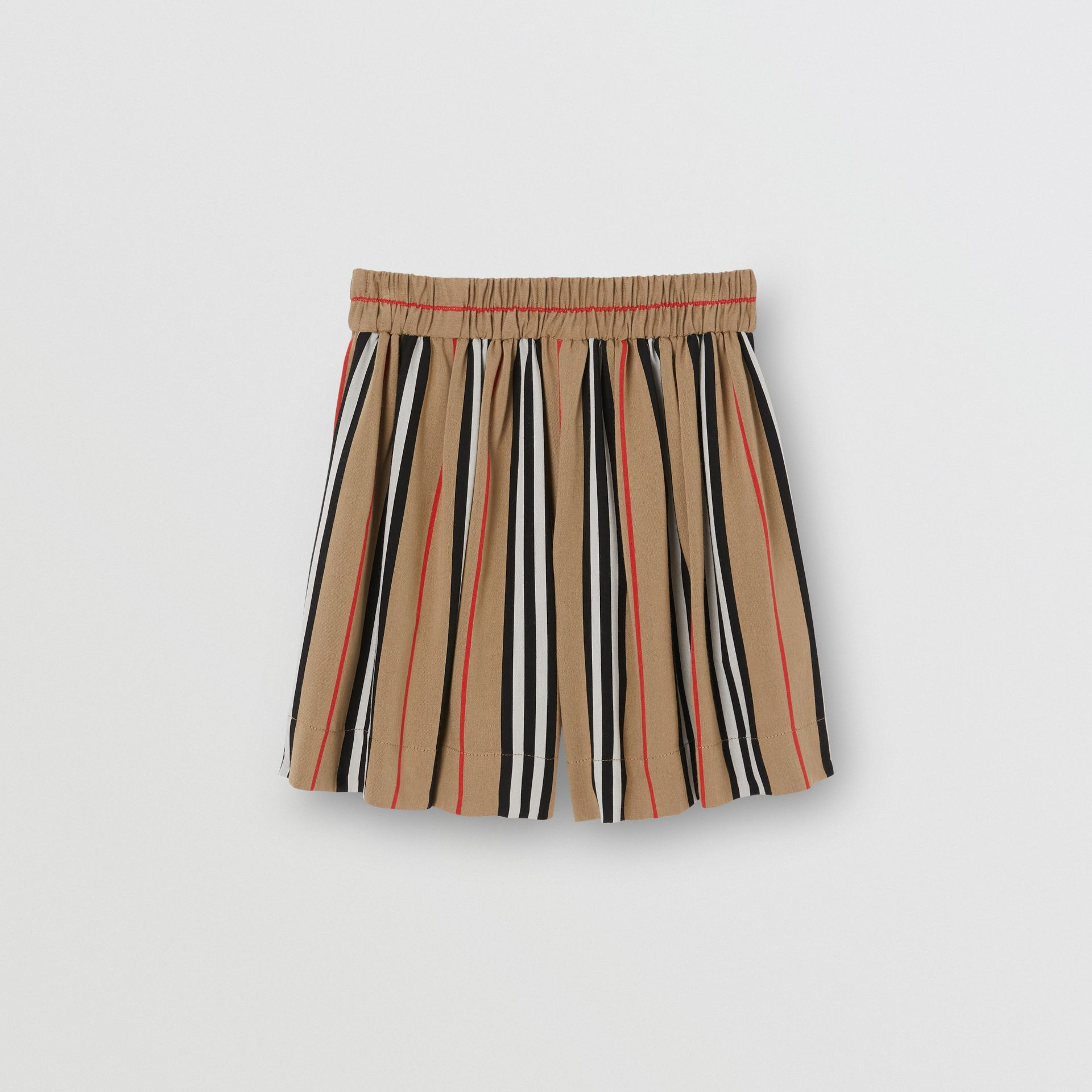Gathered Icon Stripe Drawcord Shorts in Archive Beige | Burberry United Kingdom - gallery image 3