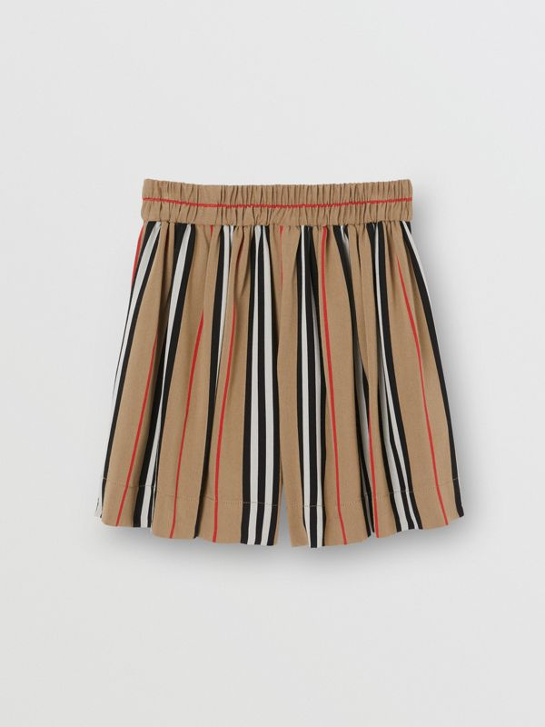 Gathered Icon Stripe Drawcord Shorts in Archive Beige | Burberry - cell image 3